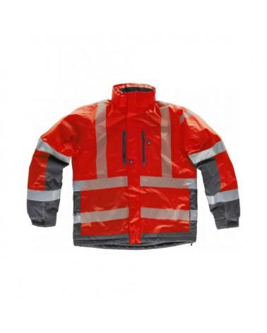 Comprar Parka impermeable combinada S9262 Rojo+Gris Oscuro workteam delante