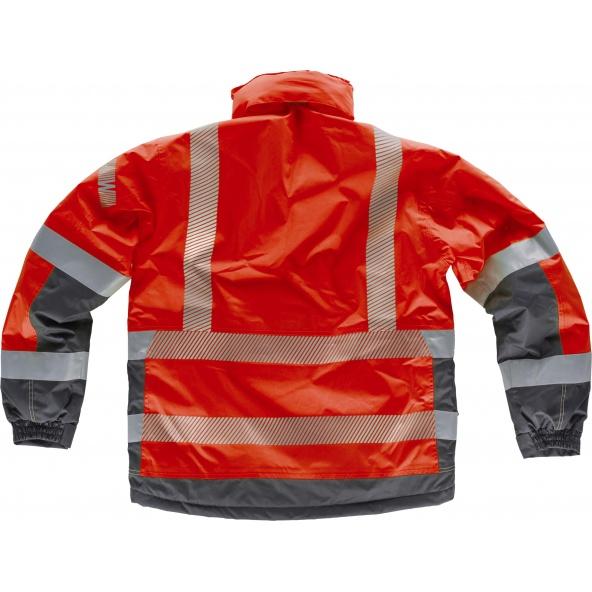 Parka impermeable combinada S9262 Rojo+Gris Oscuro workteam atrás barato