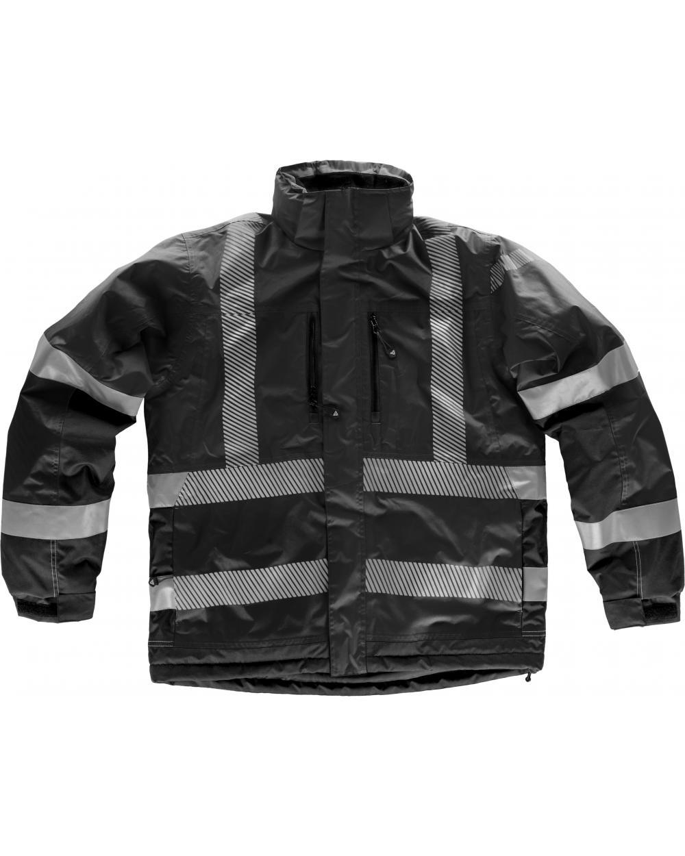 Comprar Parka impermeable con capucha S9263 Negro workteam delante