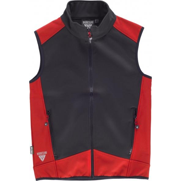 Comprar Chaleco workshell con membrana cortavientos S9315 Negro+Rojo workteam delante