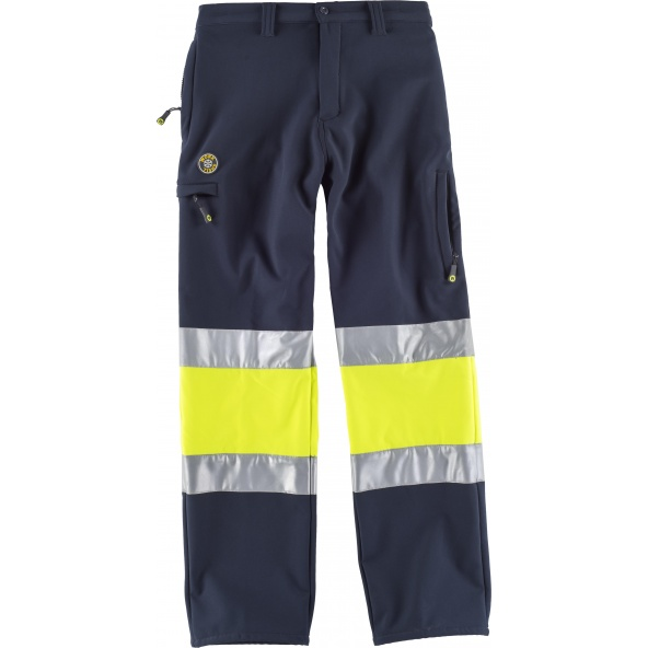 Comprar Pantalon Workshell certificado S9820 Marino+Amarillo AV workteam delante