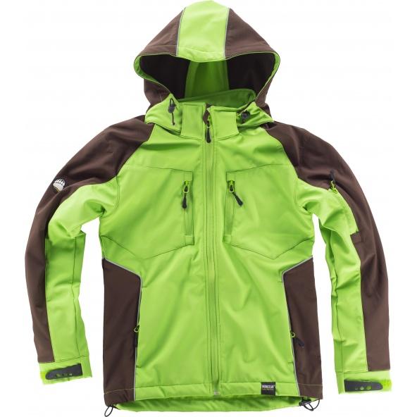 Comprar Workshell con capucha desmontable WF1040 Verde Lima+Marron workteam delante entera