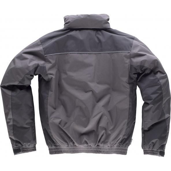 Parka tejido ripstop con capucha WF1058 Gris Oscuro+Negro workteam atrás barato