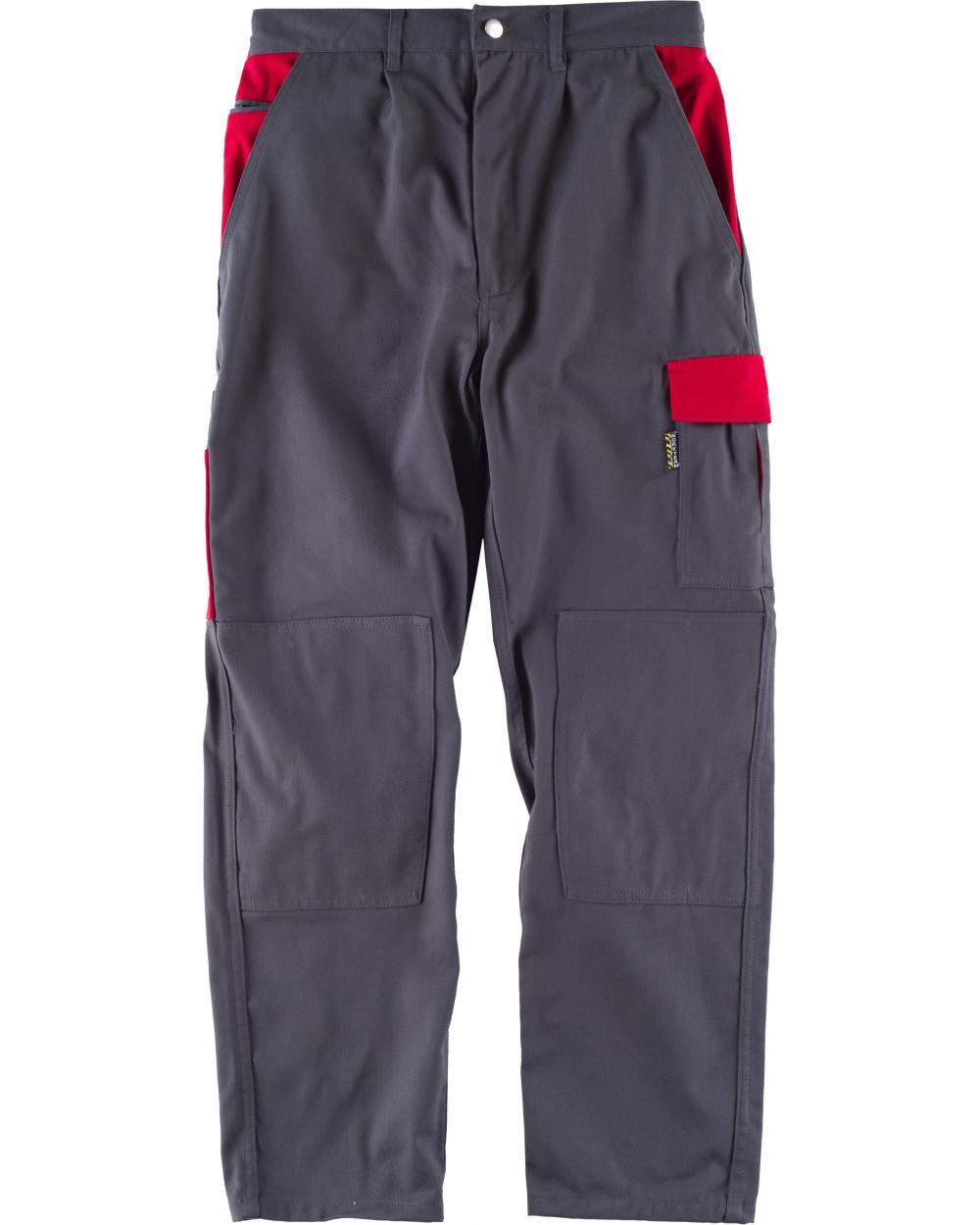 Comprar Pantalon alta resistencia WF1550 Gris+Rojo workteam delante