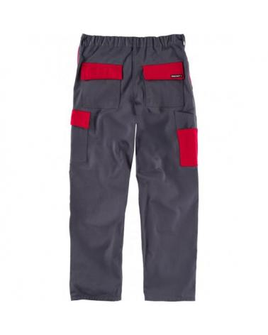 Pantalon alta resistencia WF1550 Gris+Rojo workteam atrás barato