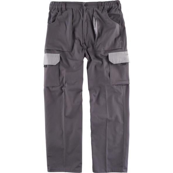 Comprar Pantalon algodon alta resistencia WF1560 Gris+Gris Claro workteam delante
