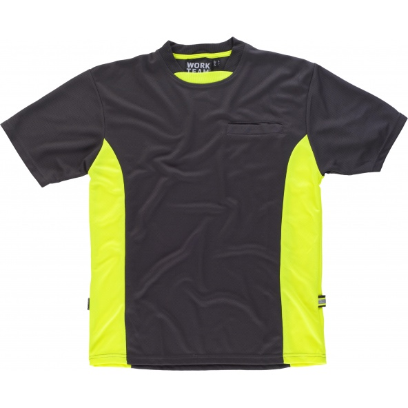 Comprar Camiseta combinada WF1616 Gris+Amarillo AV workteam delante