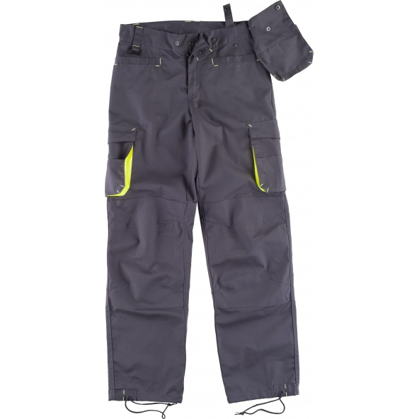 Comprar Pantalon con refuerzos WF1619 Gris+Amarillo AV workteam delante