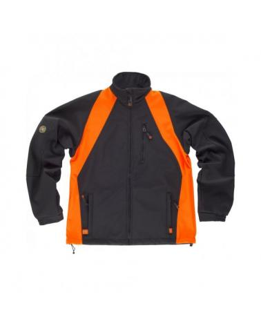 Comprar Chaqueta Workshell WF1640 Negro+Naranja AV workteam delante