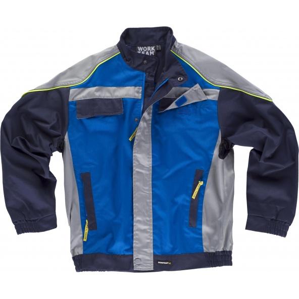 Comprar Cazadora tricolor WF5851 Azulina+Gris Claro+Marino workteam delante