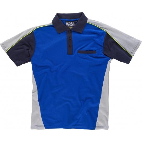 Comprar Polo tricolor con bolsillo WF5855 Azulina+Gris Claro+Marino workteam delante