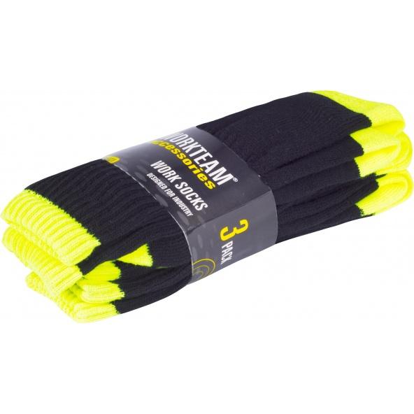 Comprar Calcetines de trabajo - pack de 3 pares WFA021 Negro+Amarillo AV workteam barato