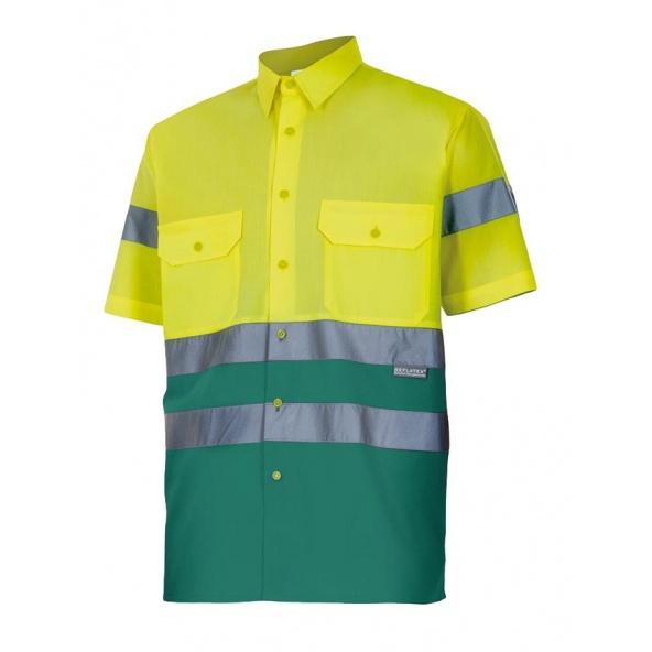 Comprar Camisa bicolor manga corta alta visibilidad serie 142 online barato Sup Ama/Inf Ver
