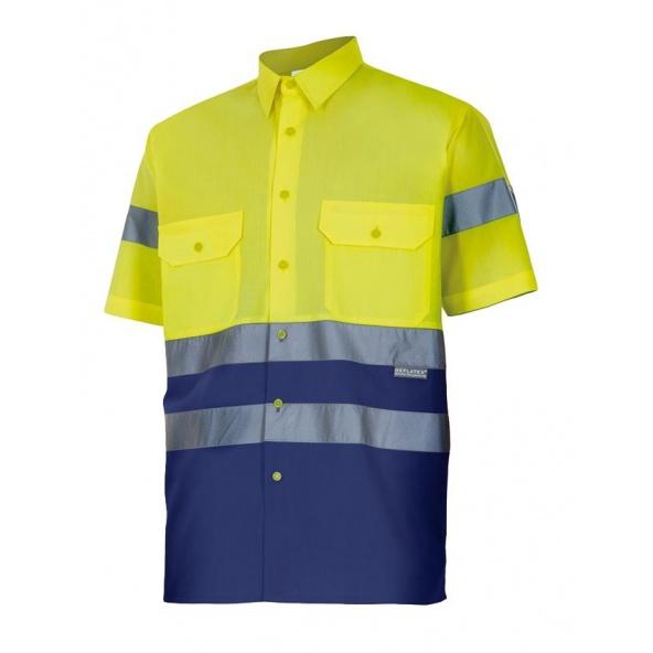 Comprar Camisa bicolor manga corta alta visibilidad serie 142 online barato Sup Ama/Inf Marino