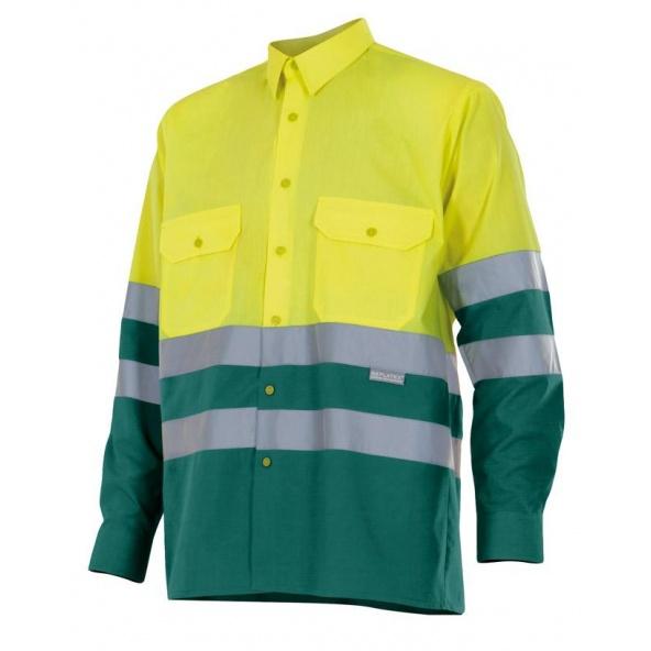 Comprar Camisa bicolor manga larga alta visibilidad serie 144 online barato Sup Ama/Inf Ver
