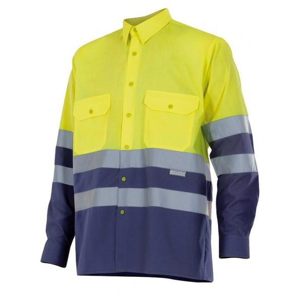 Comprar Camisa bicolor manga larga alta visibilidad serie 144 online barato Sup Ama/Inf Marino