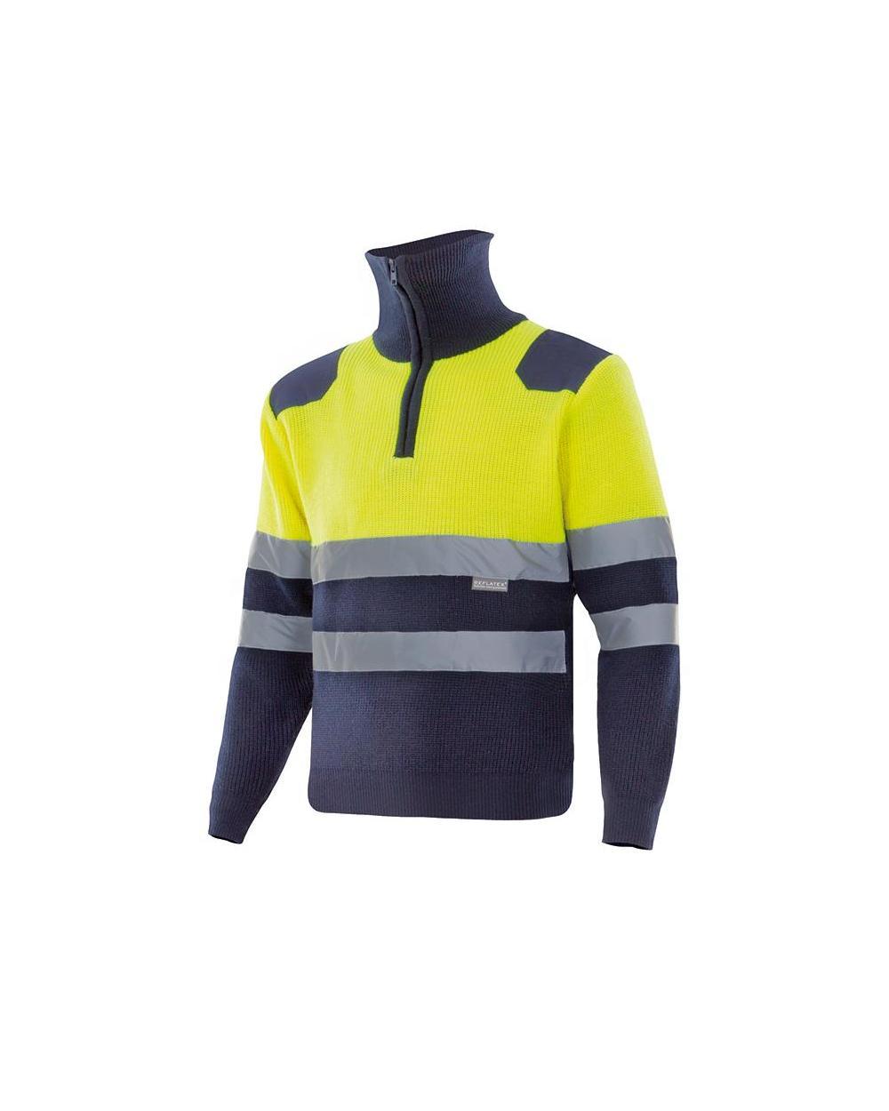 Comprar Jersey bicolor con cremallera alta visibilidad serie 301001 online barato Sup Ama/Inf Marino