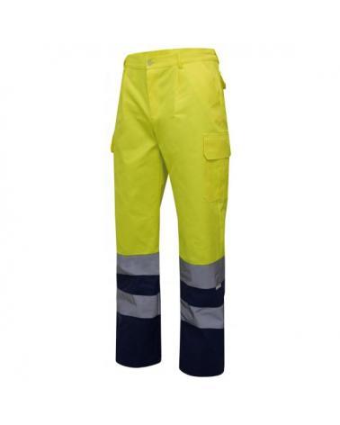 Comprar Pantalón bicolor multibolsillos alta visibilidad serie 303001 online barato Sup Ama/Inf Marino