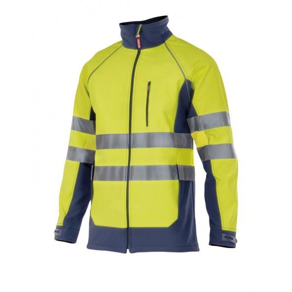Comprar Chaqueta soft shell bicolor alta visibilidad serie 306001 online barato Sup Ama/Inf Marino