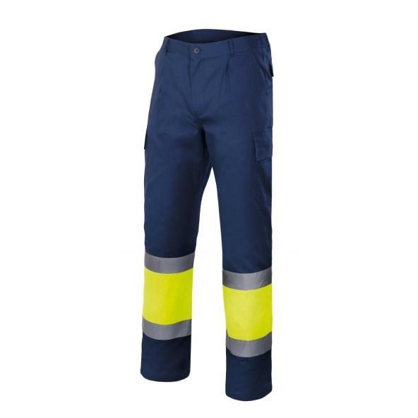 Comprar Pantalón bicolor multibolsillos alta visibilidad serie 303003 online barato Sup Mar/Inf Ama