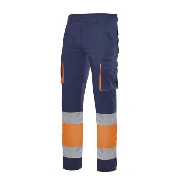 Comprar Pantalón stretch bicolor multibolsillos alta visibilidad serie 303002s online barato Azul Navy
