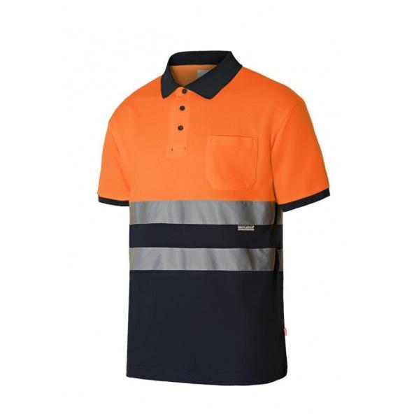 Comprar Polo bicolor manga corta alta visibilidad serie 305513 online barato Naranja Fluor