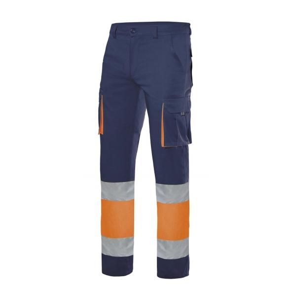 Comprar Pantalón 100% algodón bicolor alta visibilidad serie 303007 online barato Azul Navy