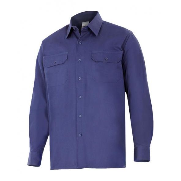 Comprar Camisa 100% algodon manga larga serie 533 online barato Azul Marino