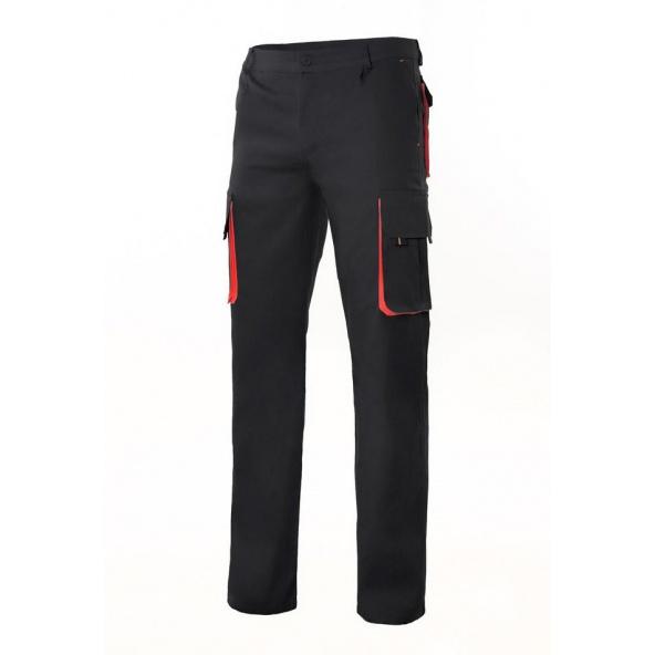 Comprar Pantalón bicolor  multibolsillos serie 103004 online barato Negro/Rojo