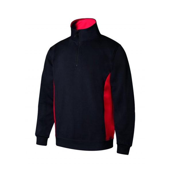 Comprar Sudadera bicolor con media cremallera serie 105704 online barato Negro/Rojo