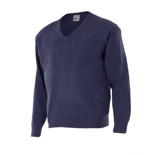 Comprar Jersey punto fino con cuello en Pico serie 104 online barato Azul Marino