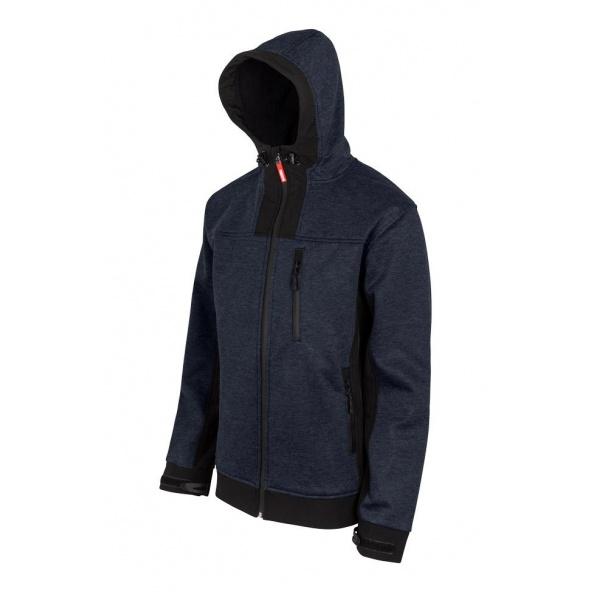 Comprar Cazadora soft shell bicolor con capucha serie 206007 online barato Azul Jaspeado/Blanco