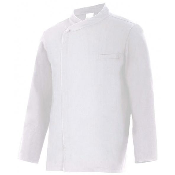 Comprar Chaqueta cocinero manga larga con cremallera oculta serie cilantro online barato Blanco