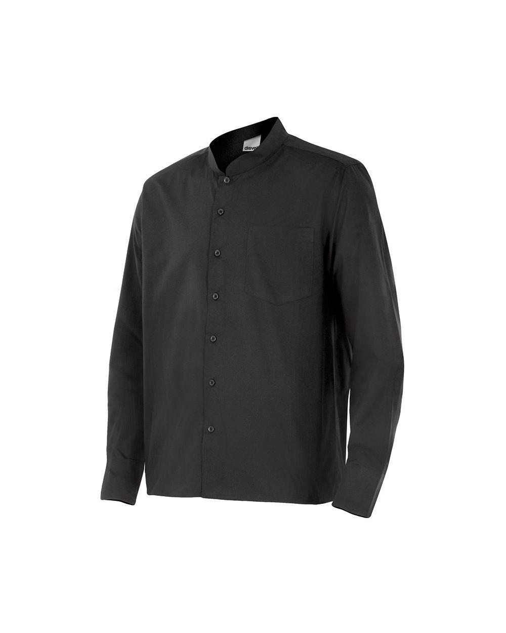 Comprar Camisa con cuello mao serie listan online barato Negro