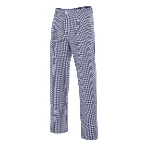 Comprar Pantalón de cocina cuadros serie 351 online barato Azul Marino