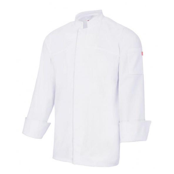 Comprar Chaqueta de cocina stretch con cierre central serie 405208s online barato Blanco
