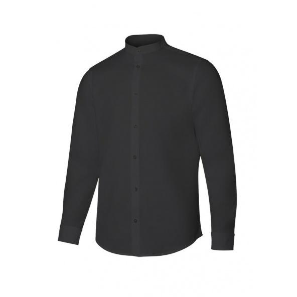 Comprar Camisa cuello tirilla stretch manga larga serie 405013s online barato Negro